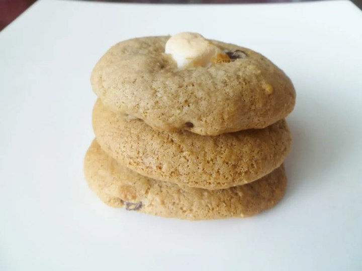 S'mores Cookies combine the best of s'mores with cookies. Each one begins with soft baked vanilla cookies, chocolate chips, and a roasted marshmallow. | thishappymommy.com