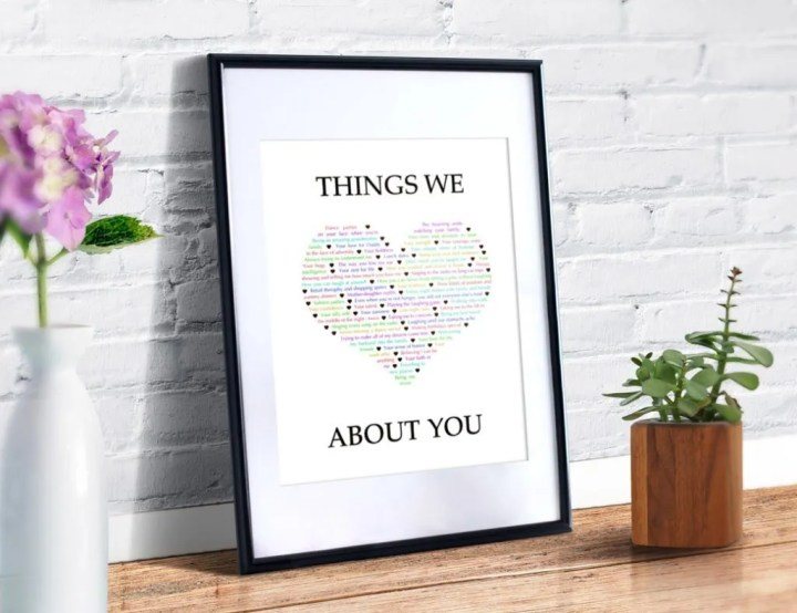 Things We {Love} About You -- Make a birthday, anniversary, or any day one to remember. Tell a special someone all the reasons that you love them with a personalized, heartfelt gift. #birthdaygifts #anniversarygift #diybirthdaygift | thishappymommy.com