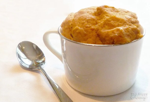 Take a bite out of fall with this single-serving pumpkin cake. Filled with cinnamon, allspice, and nutmeg, Pumpkin Spice Mug Cake is an easy 5-minute pumpkin cake that is oh so tasty.   This Happy Mommy