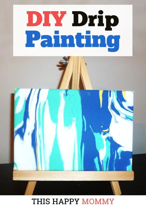 Dripping paint has never been more fun! Drip Painting is a wonderful kid-friendly craft that anyone can enjoy. | Easy DIY gifts | Cheap DIY gifts | Unique DIY gifts | creative DIY gifts | DIY craft gifts | last minute gifts | fun DIY crafts for kids to make at home | fun crafts for kids gifts projects | kids crafts gifts for parents, grandparents, moms, and dads | simple kids craft gifts ideas | fun crafts for kids to make with free printables | dollar store crafts for kids activities | easy DIY kids crafts ideas | easy kids crafts for boys and girls | #craftsforkids #painting #crafts #diy #homedecor | thishappymommy.com