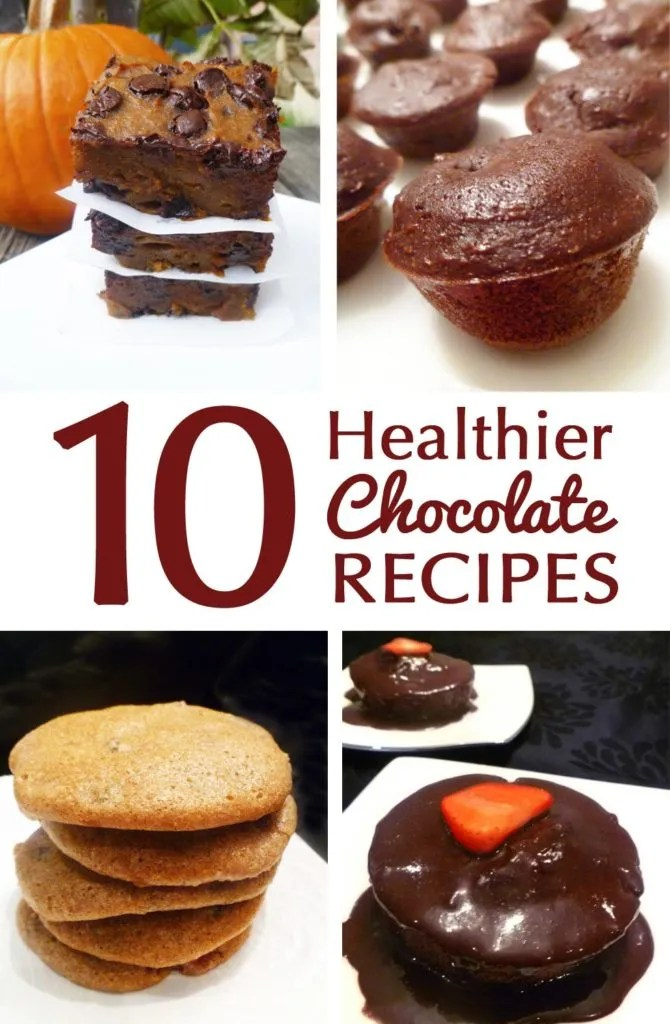 10 Healthier Chocolate Recipes -- Enjoy some tasty chocolate treats that are healthier without being bland or diet tasting. These healthier chocolate recipes are sure to be a hit!  thishappymommy.com