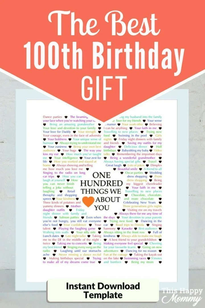 100 Things We Love About You -- The best homemade 100th birthday gift. | 100th birthday gift for dad | 100th birthday gift for mom | birthday party gift for adults | the best 100th birthday gift #100birthday #birthdaygift #gifts #diy | thishappymommy.com