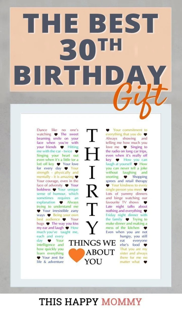 Celebrate turning 30 years old with a personalized, heartfelt gift.30 Things We {Love} About You can be the perfect gift for a milestone 30th birthday or anniversary. #30birthday #30anniversary #gift #diy #birthdaygift   thishappymommy.com