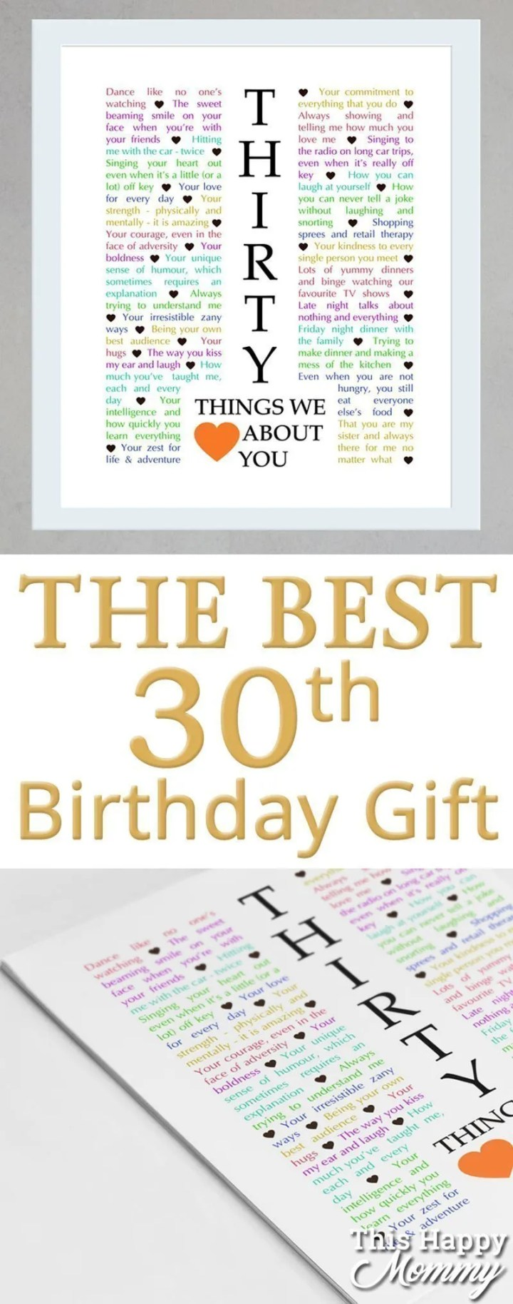 30 Things We {Love} About You -- Celebrate turning 30 years old with a personalized, heartfelt gift.30 Things We {Love} About You can be the perfect gift for a milestone birthday or anniversary. #30birthday #30anniversary   thishappymommy.com