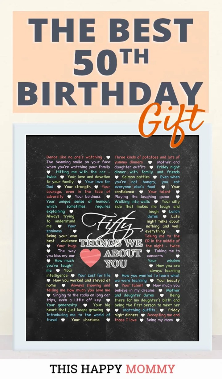 50 Things We Love About You -- My mom loves this gift!! It is the best 50th birthday gift. | 50th birthday gift for mom | 50th birthday gift for dad | birthday party gift for adults | DIY 50th birthday gift | birthday gift chalkboard art | #50birthday#birthdaygift#gifts #diy#bestgift | thishappymommy.com