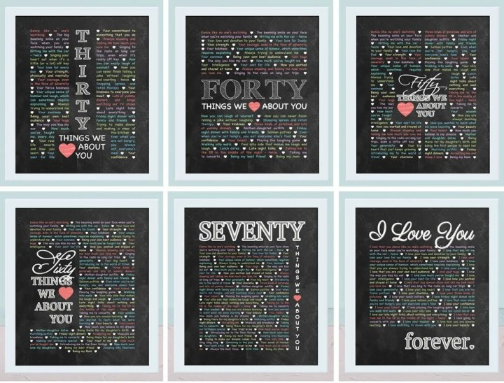 Things We {Love} About You - Chalkboard Art -- If you love heartfelt, memorable gifts, this is the one for you! Things We {Love} About You - Chalkboard Art is perfect for birthdays, anniversaries, or special occasions. Add your own words to make a truly special gift. | thishappymommy.com