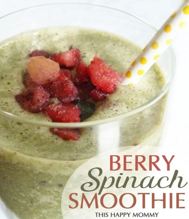 Berry Spinach Smoothie -- Green and delicious!! You can't even taste the spinach in this healthy smoothie treat. You'll simply sip the wonderful flavours of mixed berries with a hint of creamy banana. Yum! #smoothie #spinach #recipe #lowfat | thishappymommy.com