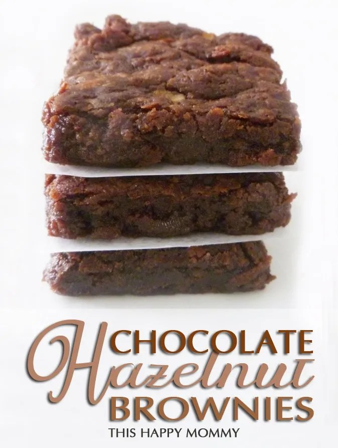 Chocolate Hazelnut Brownies -- You won't believe how tasty these brownies are!! Plus they're made with only five ingredients. Talk about serious yum! #recipe #dessert #brownie #lowfat #easyrecipe | thishappymommy.com