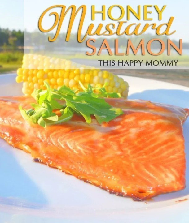 Honey Mustard Salmon -- With only four ingredients, this salmon is quick and easy to make. It's really as easy as 1, 2, 3 – 1 tablespoon of Honey, 2 tablespoons of Dijon mustard, and 3 tablespoons of brown sugar. Bing, bang, boom! You have a delicious fish to impress your family and friends with. #easyrecipe #dinner #recipe | thishappymommy.com