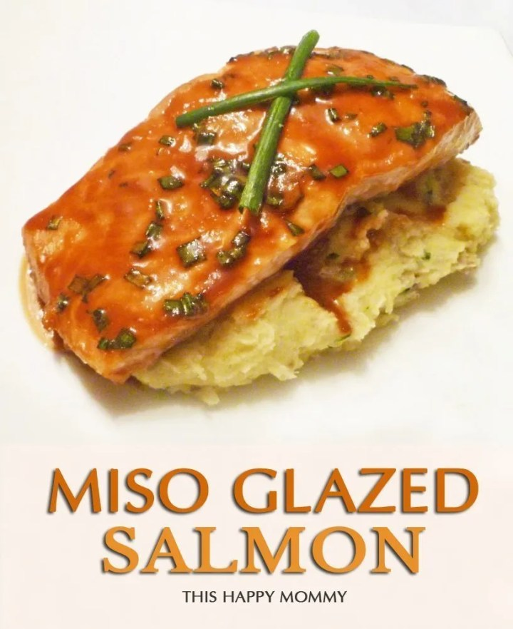 Miso Glazed Salmon -- Wow!! My family loves this salmon! Not only is the marinade made with only four ingredients, but within the time it takes for your oven to warm up, your salmon will be ready to bake. #easyrecipe #dinner | thishappymommy.com