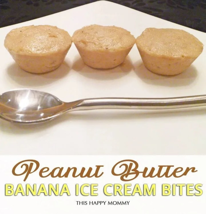 Peanut Butter Banana Ice Cream Bites is filled with everything you love about ice cream in a bite-sized treat. Each bite is packed with frozen bananas, peanut butter and honey. Three easy ingredients in one amazingly tasty dessert. #recipe #dessert #lowfat #snack #kidfriendlyrecipe | thishappymommy