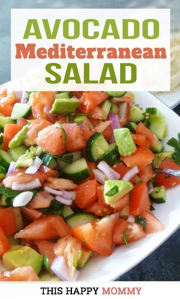 A simple and tasty salad that can be served with any meal! Avocado Mediterranean Salad is made with tomatoes, cucumbers, onions, avocados, and a zesty lemon dressing. Yum! | Healthy Clean Eating Salad Recipes | Healthy Salad Bowl Dinners | Healthy Bowl Clean Eating Dinners | Healthy and Easy Salad for Lunch | Potluck Salad Bowls | Healthy Homemade Salad Dressing | #salad #dinner #lunch #summerrecipe #recipe | thishappymommy.com