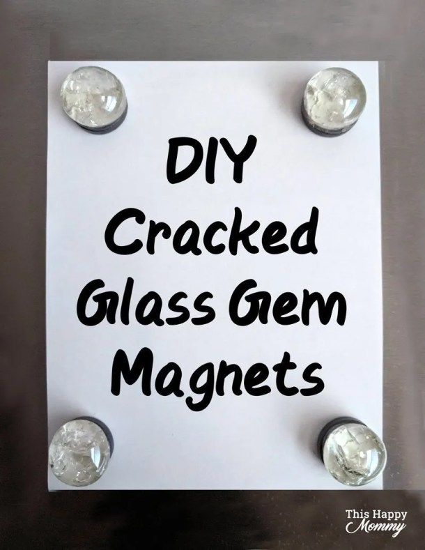 With gentle cracks throughout, DIY Cracked Glass Gem Magnets are a simple craft that can add beauty to your fridge or wherever you hang magnets. Use them for your home or give them as a sweet gift! | Easy DIY gifts | Cheap DIY gifts | creative DIY gifts | DIY craft gifts | last minute gifts | fun crafts for kids | simple and easy DIY kids craft gifts ideas | dollar store crafts | #crafts #gifts #kidscrafts #diy #homedecor | thishappymommy.com