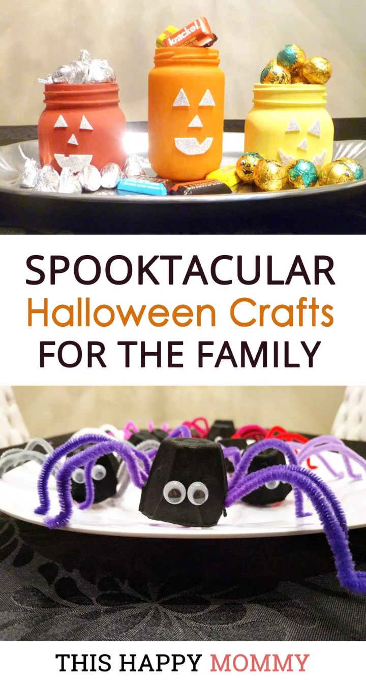 Halloween is almost here! Celebrate all the fun with some easy crafts. Spooktacular Halloween Crafts for the Family are some of our favourite Halloween crafts that you can enjoy with your family. |simple kids craft gifts ideas | easy DIY kids crafts ideas | easy kids crafts for boys and girls | Halloween crafts | DIY halloween decor | #halloween #crafts #diyhalloween #diy #howto | thishappymommy.com