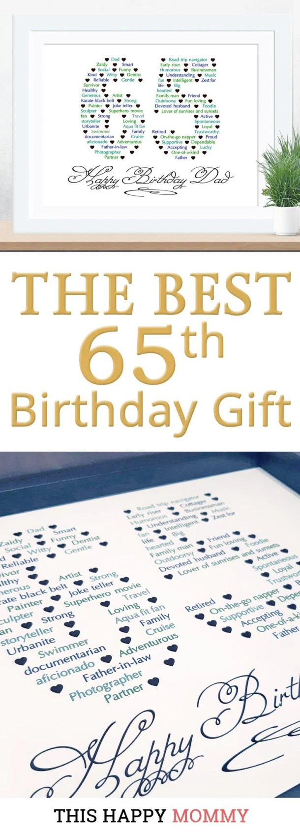 Know someone who is turning 65? Happy 65th Birthday Gift is the perfect gift for the person who has everything. Fill it with words and messages about the birthday person for a one-of-a-kind gift that will be treasured for many years to come. 65th birthday gift for dad | 65th birthday gift mom | birthday party gift for adults | the best 65th birthday gift #65birthday #birthdaygift #gift #bestgift | thishappymommy.com