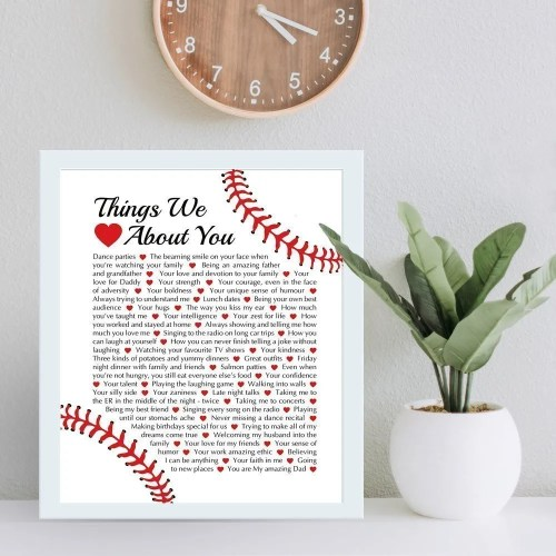 Looking for the perfect gift for the baseball fan in your life? Things We {Love} About You - Custom Copy - Baseball Edition is filled with the reasons you love this sports fan. Perfect for a birthday, anniversary, or just because, this is the dream gift for the baseball sports fan in your life.