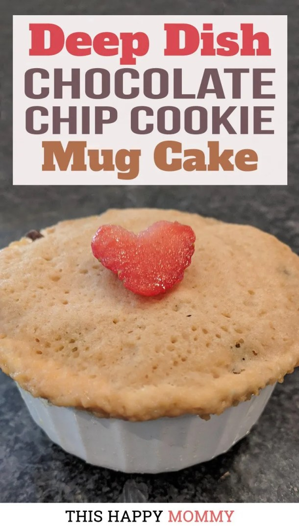 You have to try this mug cake! With the flavor of a chocolate chip cookie and the texture of a light and fluffy cake, Deep Dish Chocolate Chip Cookie Mug Cake is a perfect single-serving dessert. Dig right into this lightly-sweetened vanilla cookie cake with melted chocolate chips. Yum! | mug cake dessert | thishappymommy.com