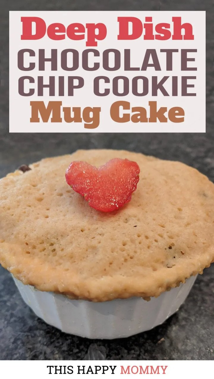 You have to try this mug cake! With the flavor of a chocolate chip cookie and the texture of a light and fluffy cake, Deep Dish Chocolate Chip Cookie Mug Cake is a perfect single-serving dessert. Dig right into this lightly-sweetened vanilla cookie cake with melted chocolate chips. Yum! |mug cake dessert | thishappymommy.com