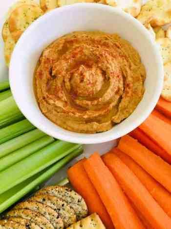 Peanut Butter Hummus with veggie sticks