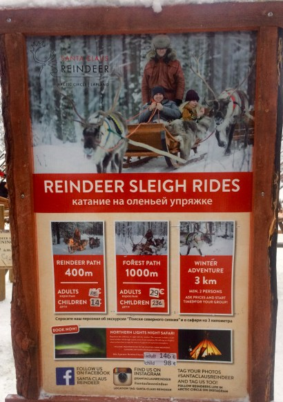 reindeer ride Santa Claus Village
