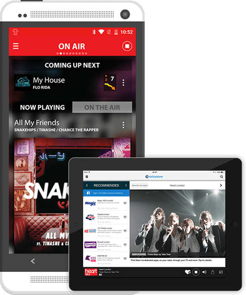 iOS and Android apps for phone and tablet