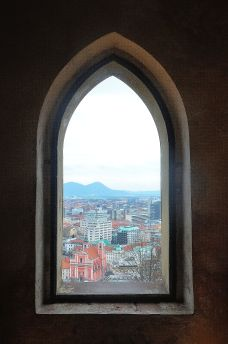Ljubljana town from one of the windows of Ljubljana Castle.