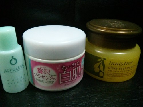 Rice Force Moisture Balance Milk, White Label Placenta Cream, Innisfree Olive Real Power Cream