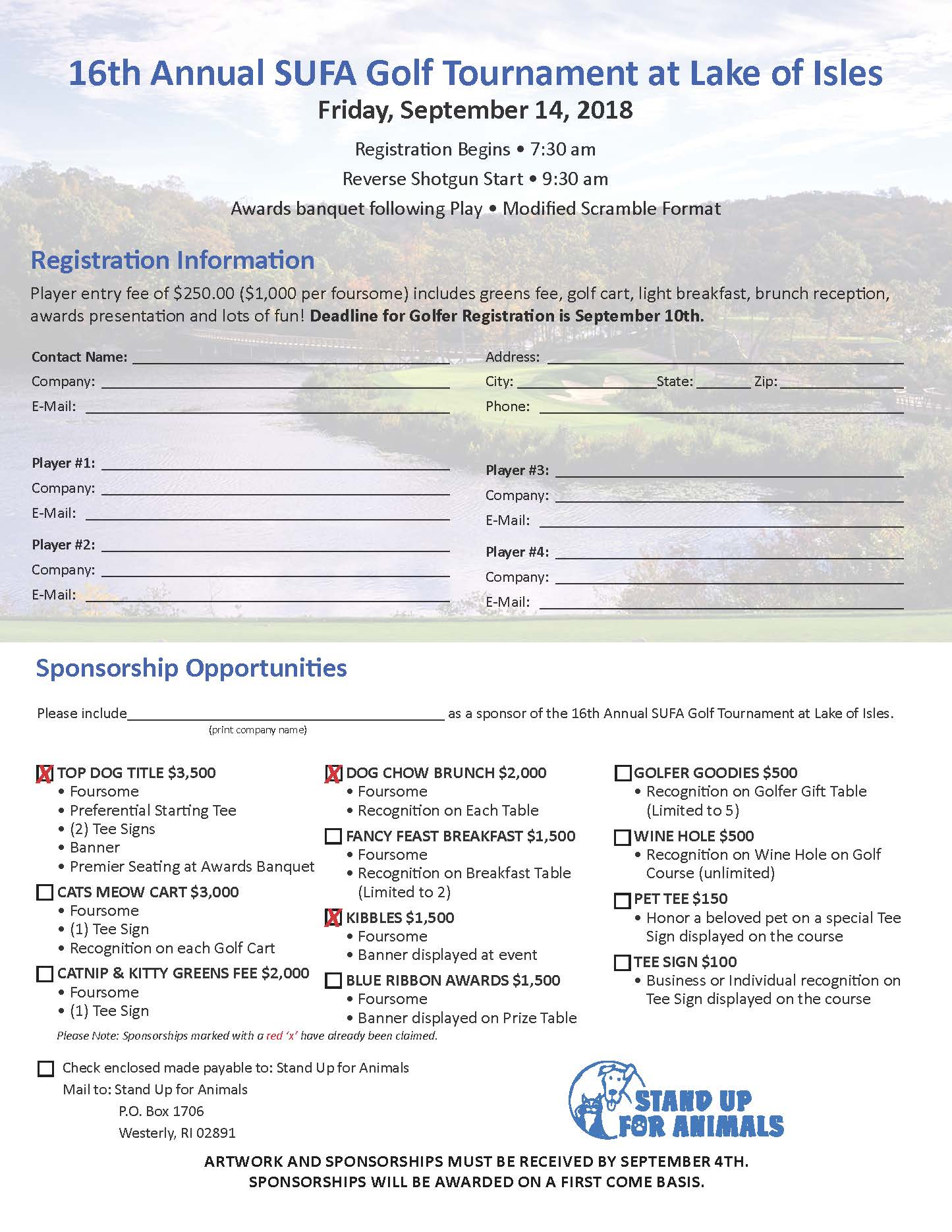 16th Annual Stand Up For Animals Golf Tournament Fundraiser