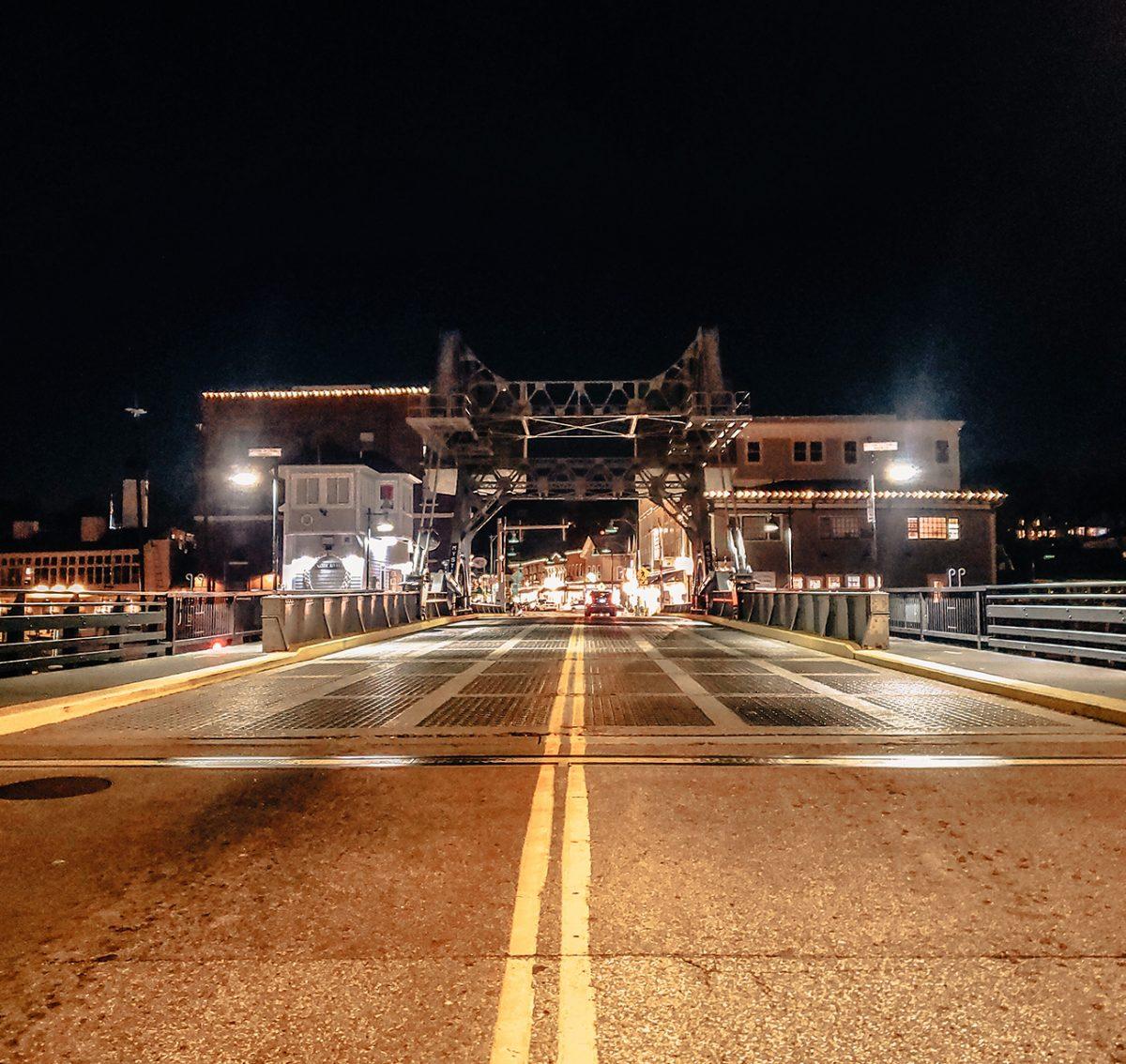 mystic bridge street night