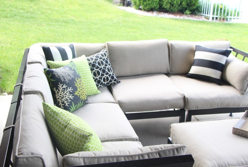 outdoor oasis | outdoor patio pillow | DIY backyard patio decor | This is our Bliss