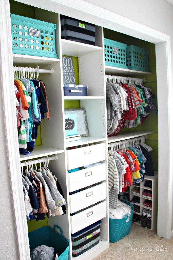 Baby boy nursery closet | diy nursery organization | navy green gray nursery | This is our Bliss