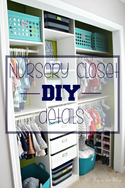 Baby boy nursery closet - DIY nursery closet deatails  - navy green gray - This is our Bliss
