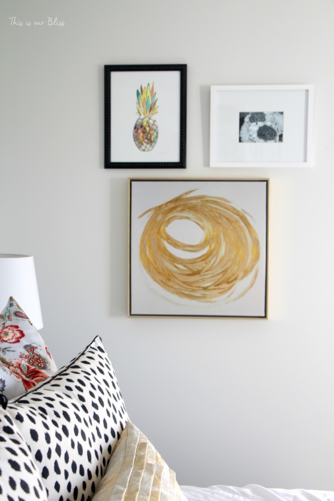 Guestroom revamp - pineapple art - mini gallery wall - This is our Bliss