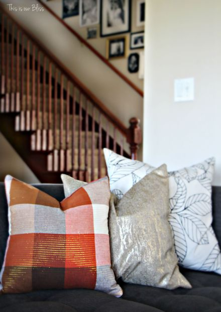 DIY fall throw pillows with cloth napkins - fall table linens Fall decorating gray couch stairway galler wall This is our Bliss