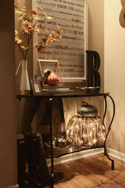fall entryway - fall vignette at night - This is our Bliss