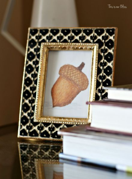 Fall entryway - fall vignette - entryway table styling - fall decor - neutral fall decor -staircase view - fall word art - mini framed acorn art 1 - This is our Bliss