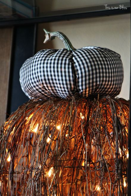 Fall entryway - fall vignette - metallic artichokes -gingham fabric pumpkin - fall decor - This is our Bliss