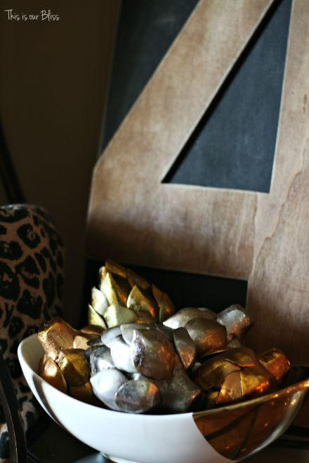 Fall entryway - fall vignette - metallic artichokes - rustic number 4 - fall decor - This is our Bliss