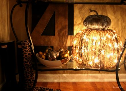 Fall entryway - fall vignette - metallic artichokes - rustic number 4 -gingham fabric pumpkin - lit up at night - fall decor - This is our Bliss