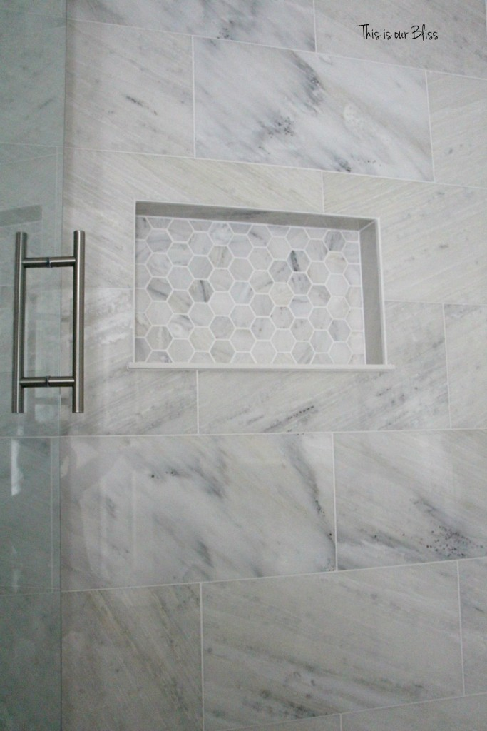 TIOB basement project - basement bathroom - marble tile & marble hexagon niche - This is our Bliss