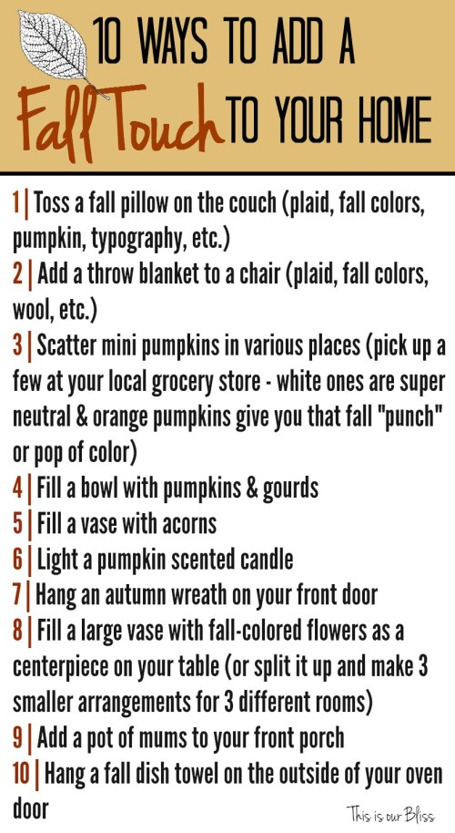 10 ways to add a fall touch to your home This is our Bliss