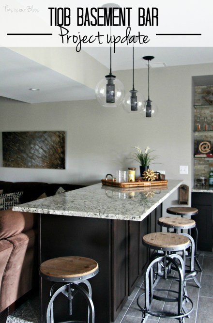 Basement bar  industrial barstools  modern industrial lights  basement bar project update  neutral decor  baement project progress  This is our Bliss