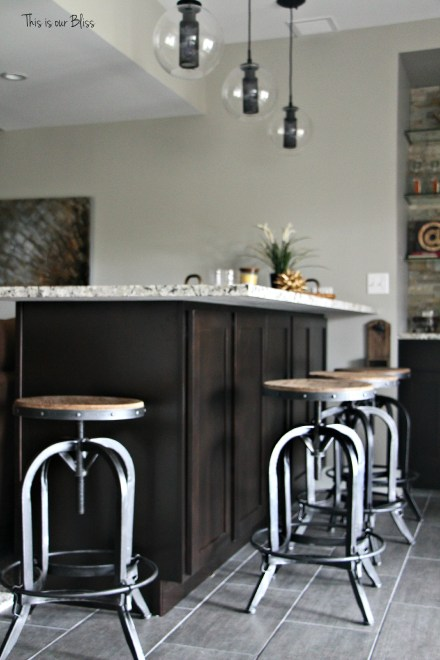 Basement bar industrial barstools modern industrial lights neutral decor baement project progress 1 This is our Bliss