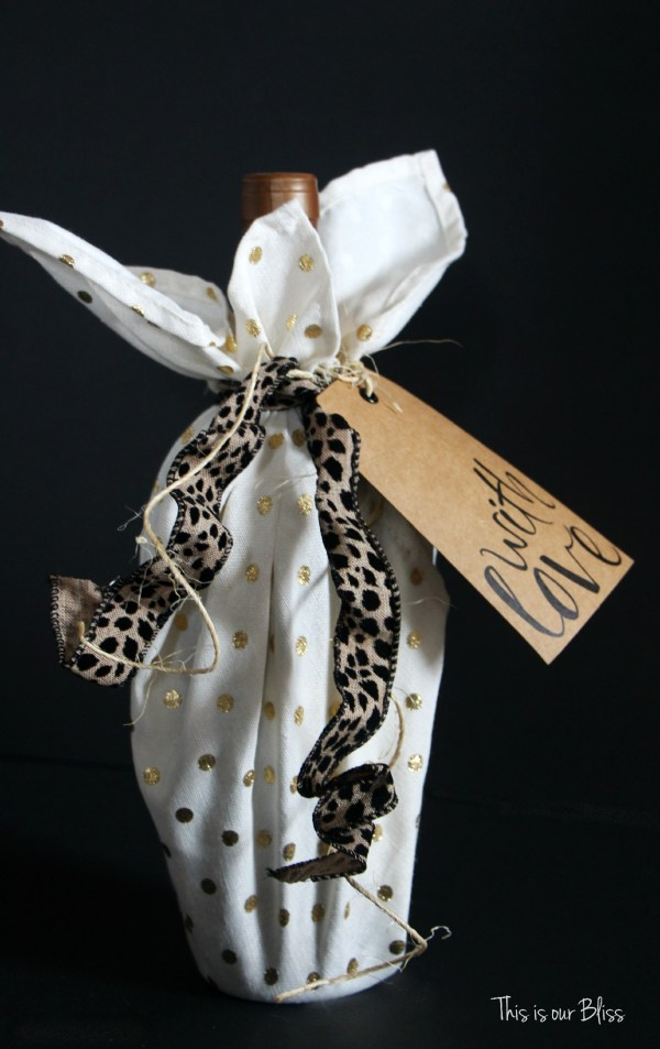 cloth napkin as gift wrap - how to use cloth napkins - 5 ways to use cloth napkins - gold foil napkins - leopard - This is our Bliss