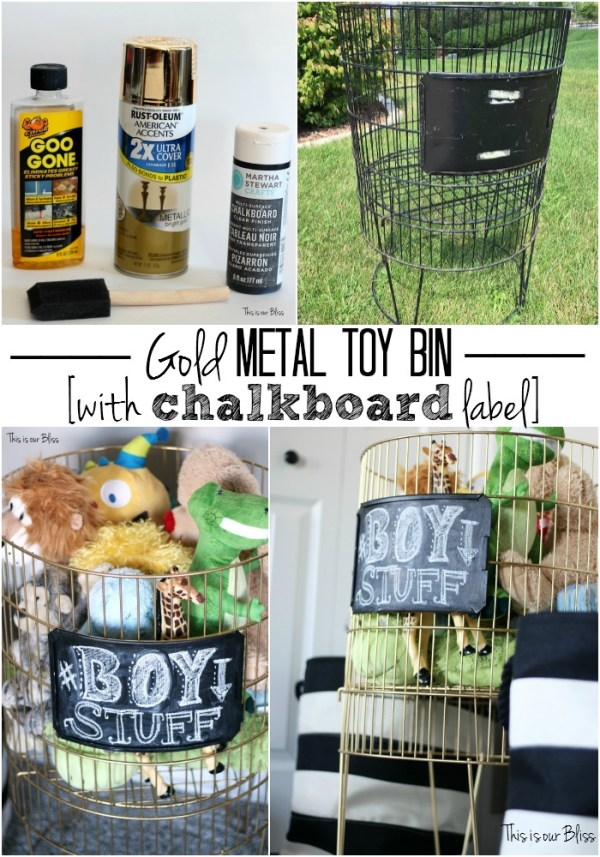 gold metal toy bin with chalkboard label diy toy storage thrifted find This is our Bliss