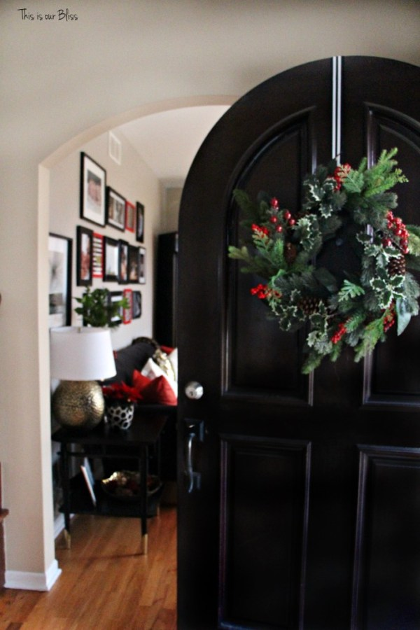 Holiday home tour- front door and entryway - sneak peak formal living room - christmas wreath - This is our Bliss