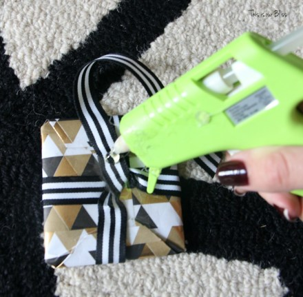 diy wrapped present ornament glue gun - This is our Bliss