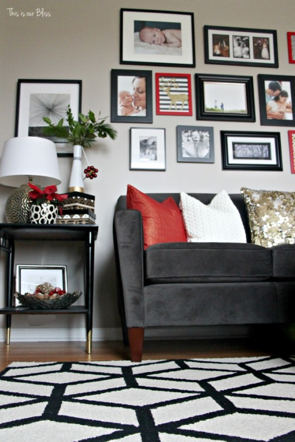 formal living room 12 days of christmas holiday home tour - This is our Bliss - gallery wall