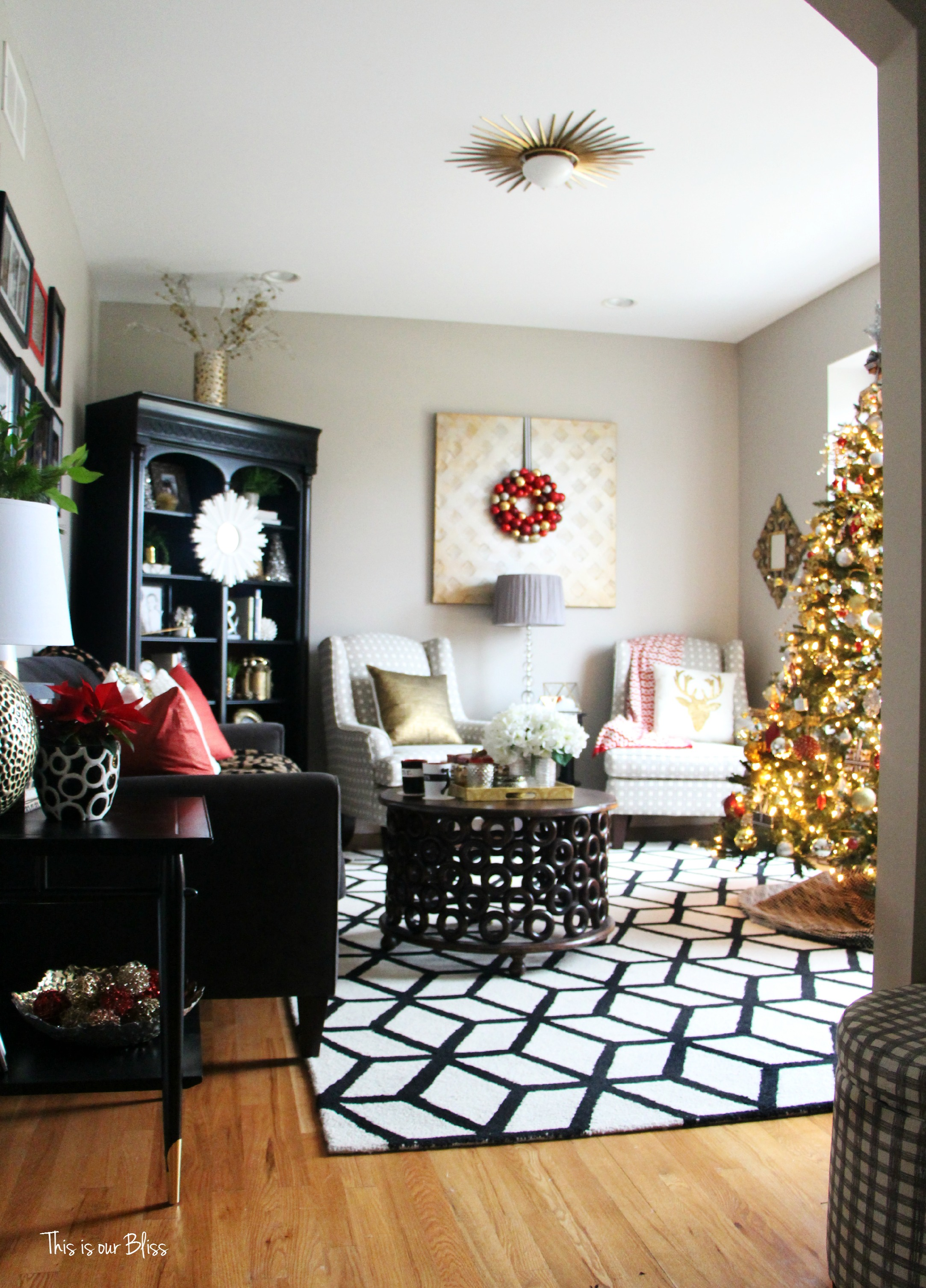 Merry bright blissful holiday home 12 days of - Christmas living room decor ...