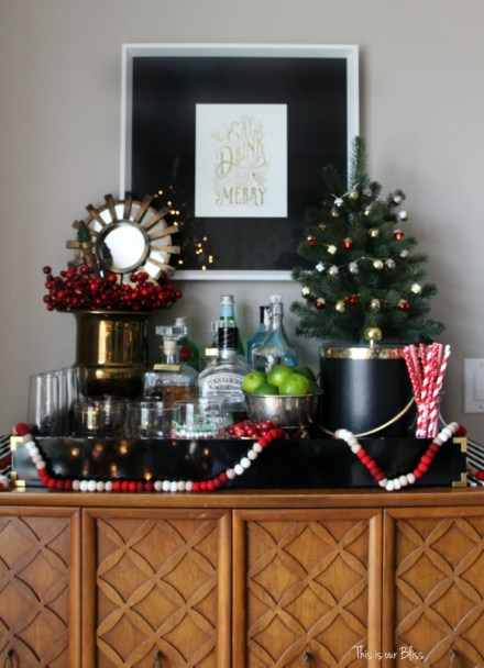 holiday bar tray - barware - bar accessories - bar cart styling - christmas spirits - This is our bliss